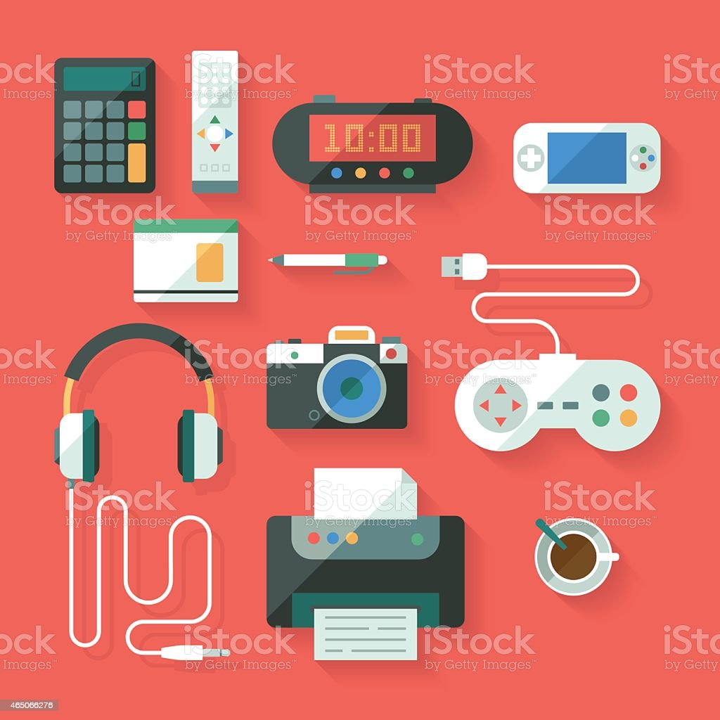 Computing and electroinc devices vector art illustration