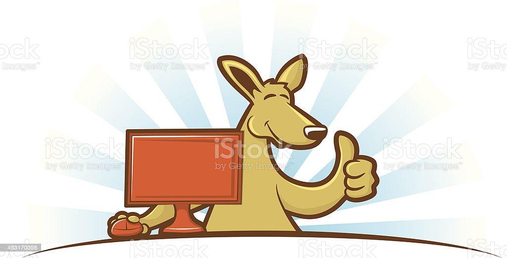 Computing Kangaroo vector art illustration