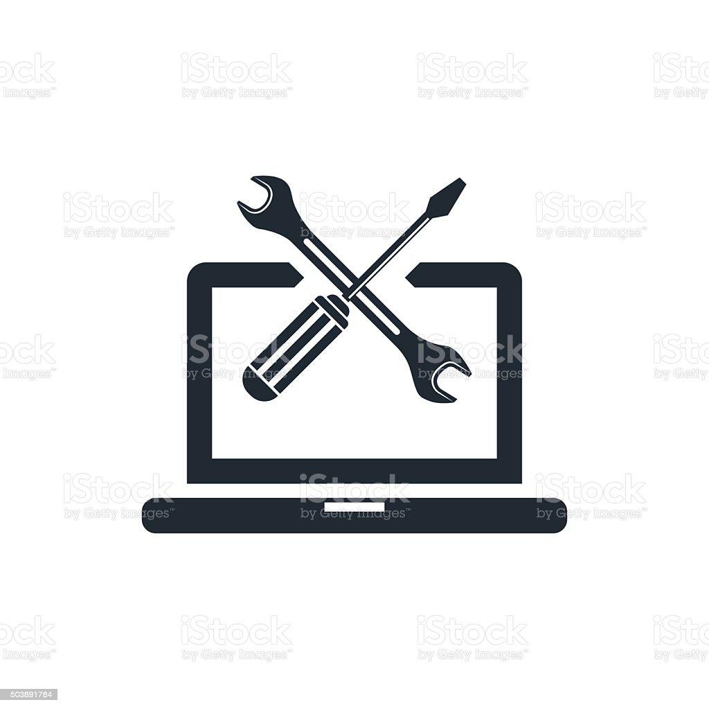 computing services icon vector art illustration