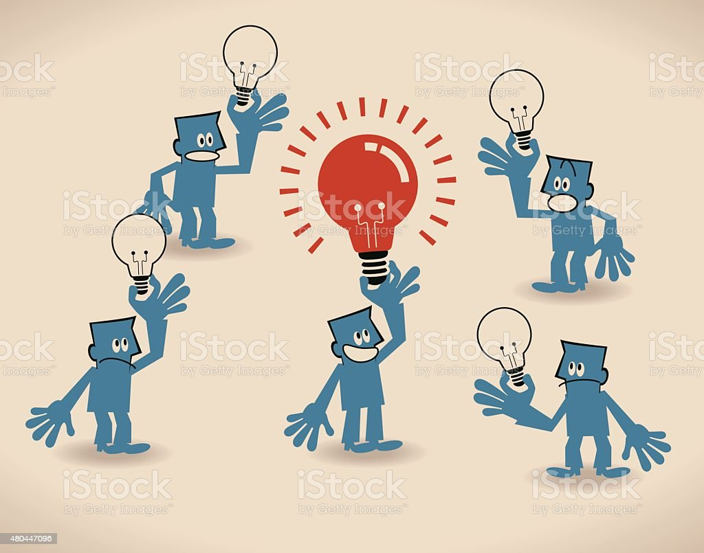 Concept about making great ideas happen (a reality, matter, work) vector art illustration