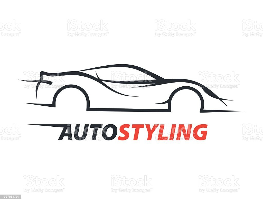 Concept auto styling car logo with supercar sports vehicle silhouette. vector art illustration