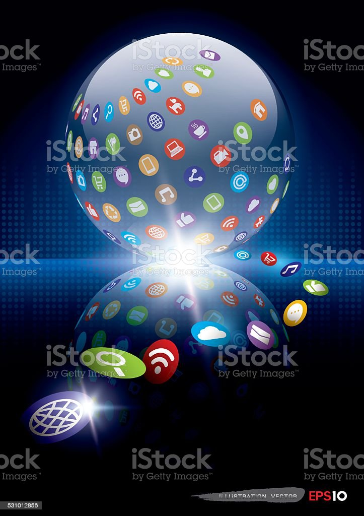 Concept background with icons and Spherical objects vector art illustration