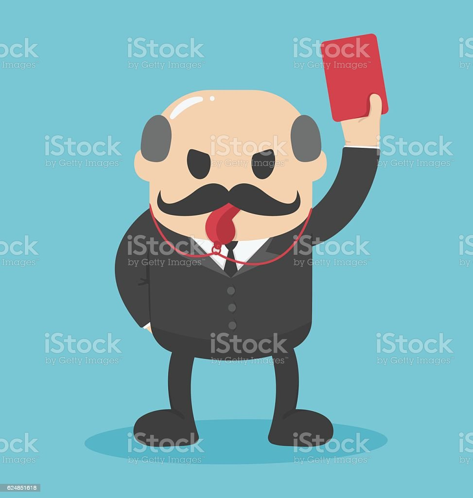 Concept Bald businessman hand showing red card vector art illustration