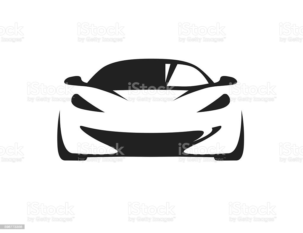 Concept car with supercar sports vehicle silhouette. vector art illustration