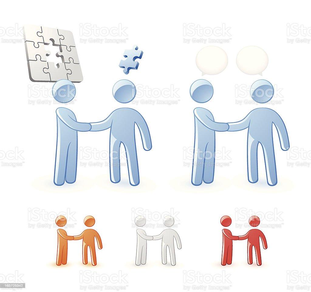Concept Characters Symbolizing Problems, Solution, Conversation, Team Work vector art illustration