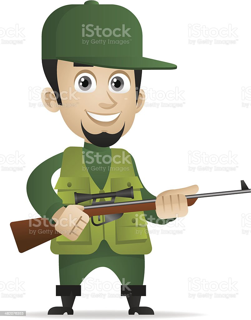 Concept cheerful hunter holds shotgun vector art illustration