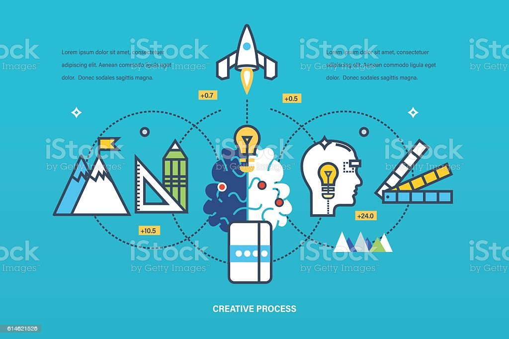Concept - creative process of thinking and realization  ideas, inspiration. vector art illustration