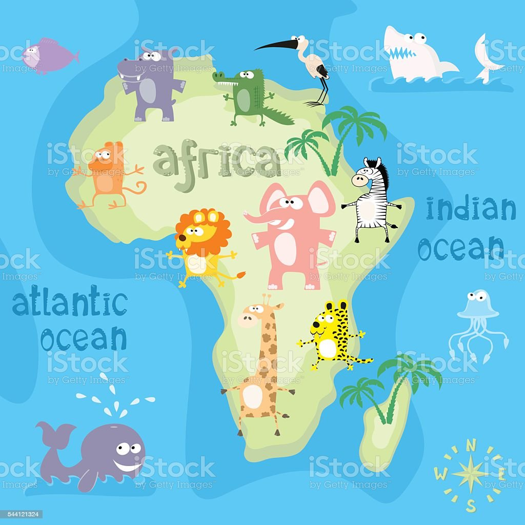 Concept design map of african continent with animals vector art illustration