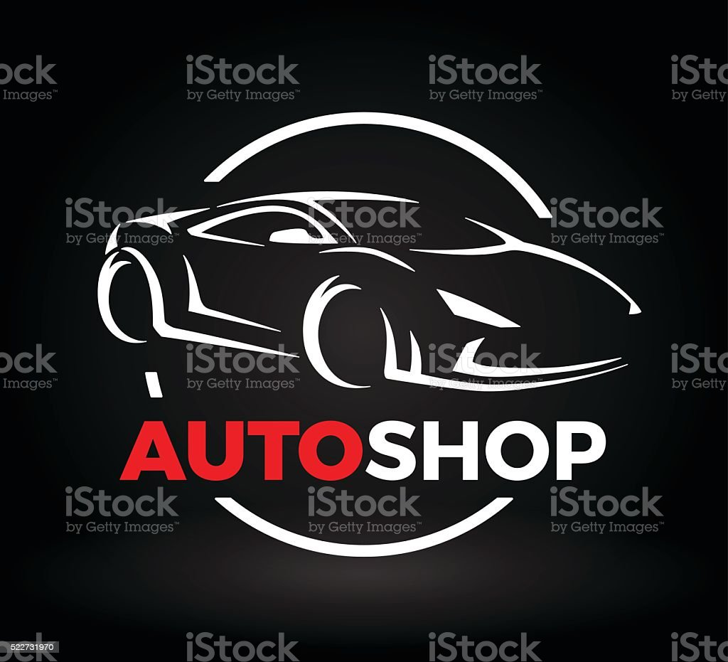 Concept design of super sports vehicle car auto shop logo. vector art illustration