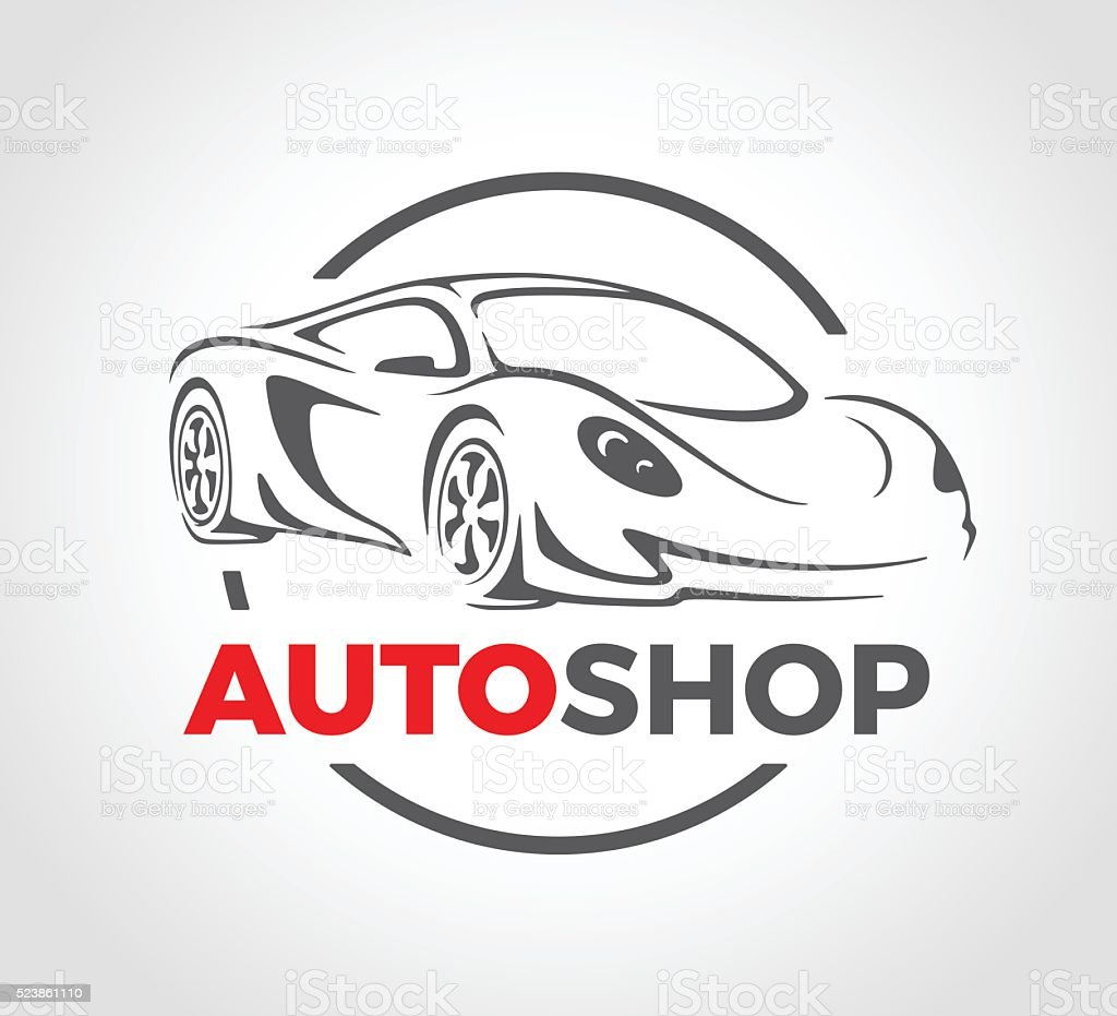 Concept design of super sports vehicle car auto shop logo. vector art illustration