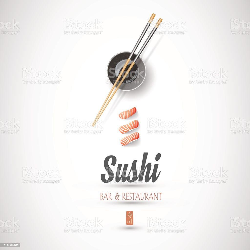 Concept design of the invitation sushi restaurant vector art illustration