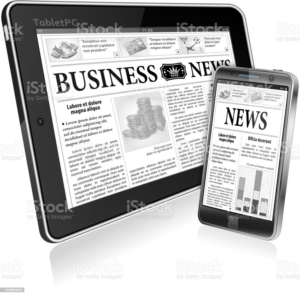 Concept - Digital News. Tablet PC and Smartphone with Newspaper royalty-free stock vector art