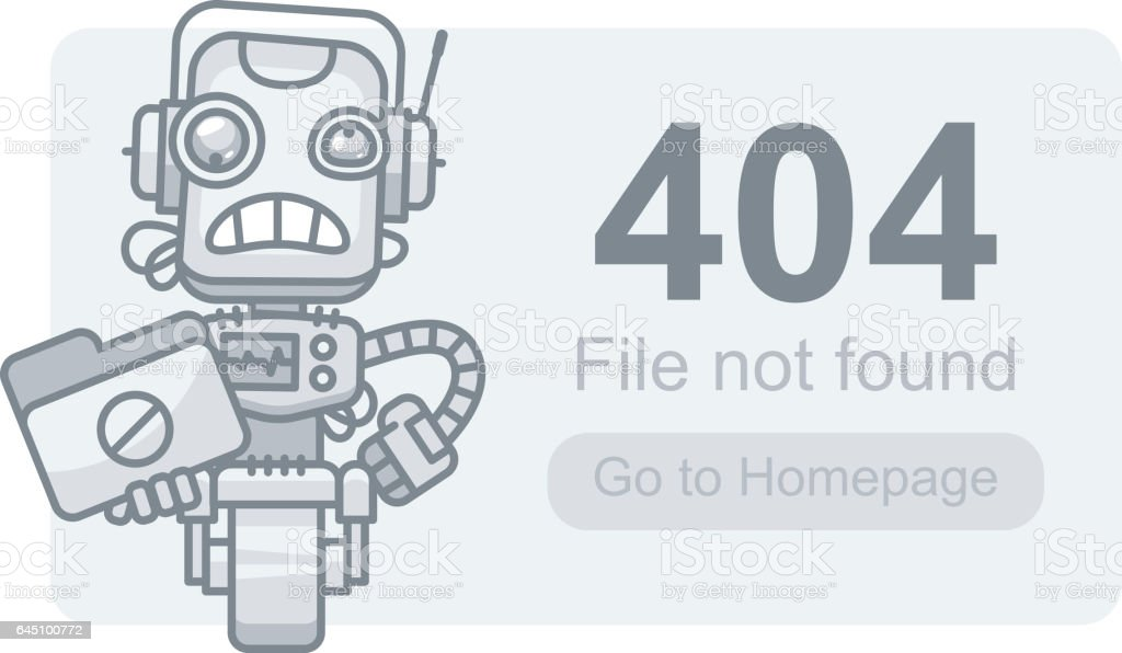 Concept File Not Found Robot with Folder vector art illustration