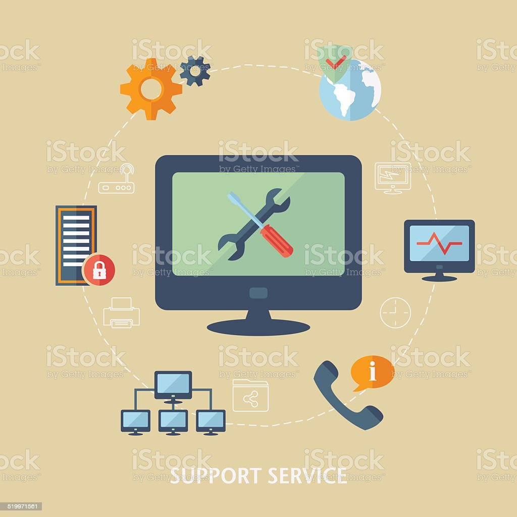 Concept for computer support vector art illustration