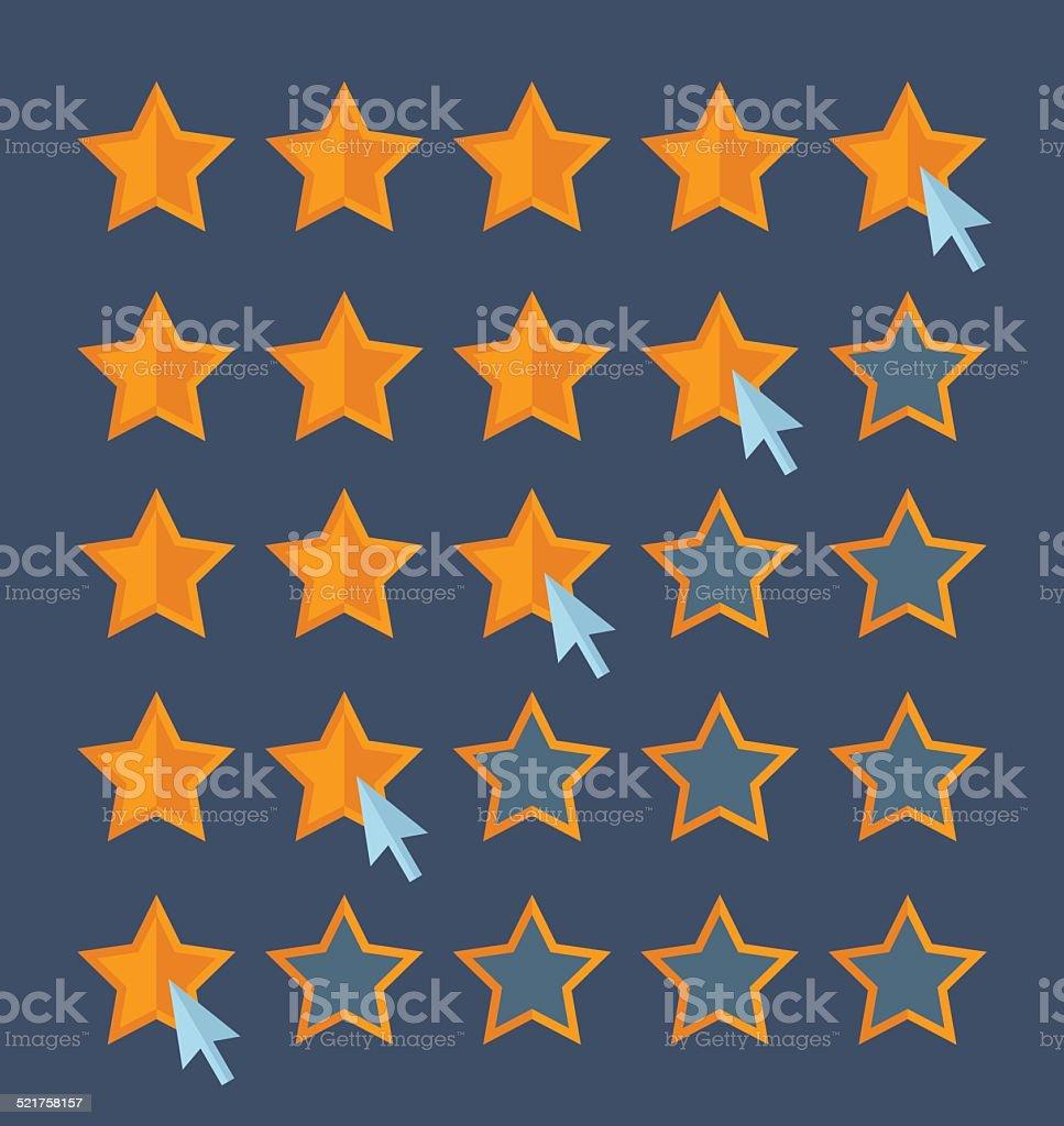 Concept for customer review. Cursor arrow choosing rating stars. vector art illustration