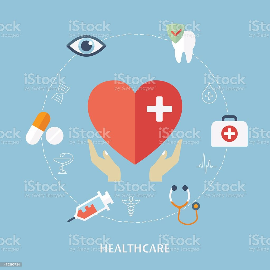 Concept for medicine healthcare. Medical icons. vector art illustration