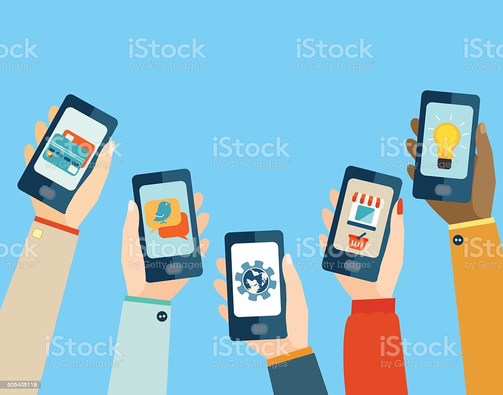 Concept for mobile apps. Flat design. vector art illustration