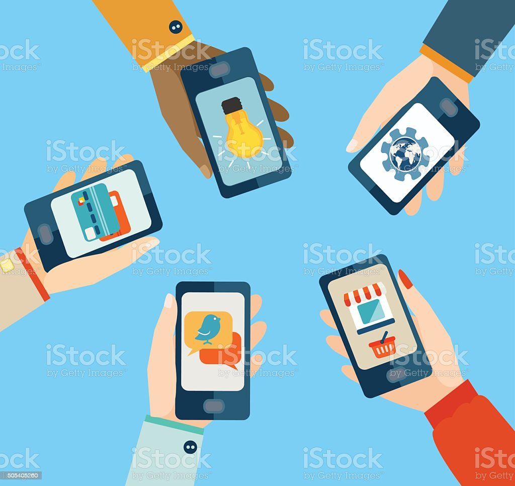 Concept for mobile apps. vector art illustration