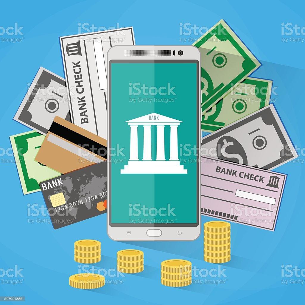 concept for mobile banking vector art illustration