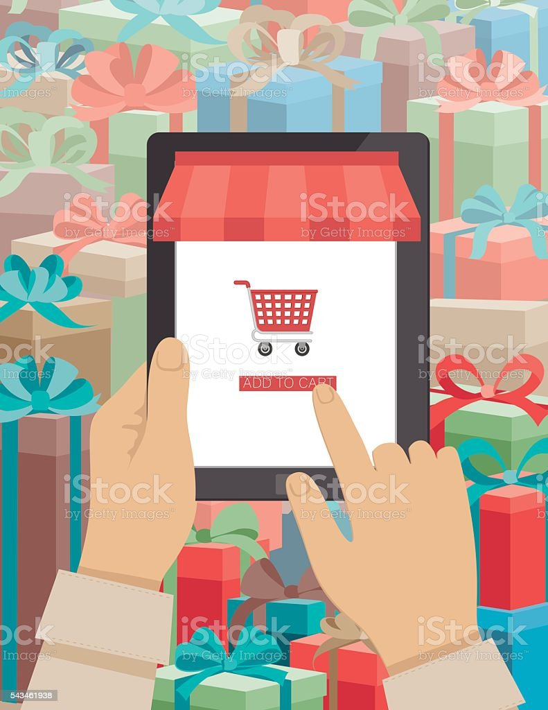 Concept for Online Christmas Shopping Using A Tablet vector art illustration