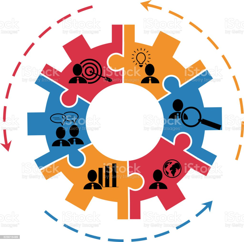 Concept for project management with gear vector art illustration