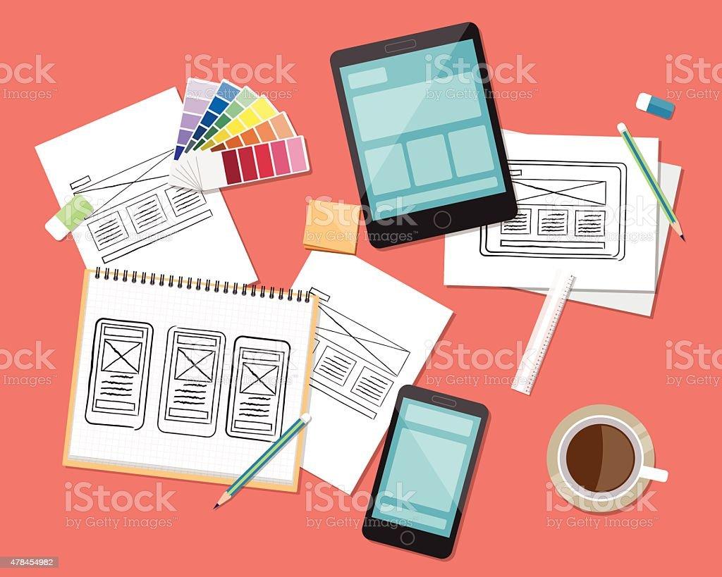 concept for wab and app sketc design work space vector art illustration
