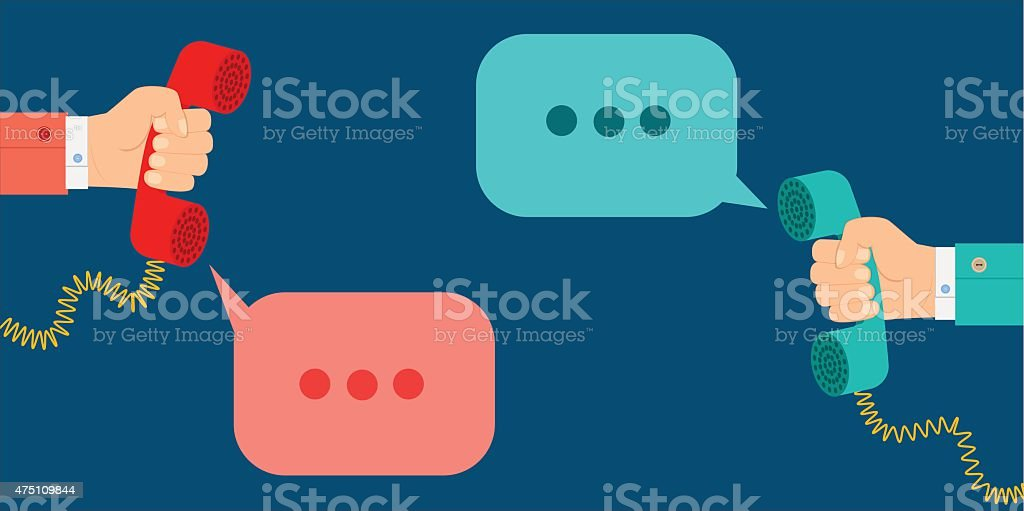 concept hand holding a telephone receiver speech clouds vector art illustration