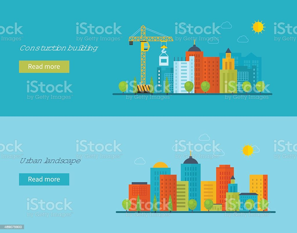 Concept illustration with icons of building construction and urban landscape vector art illustration