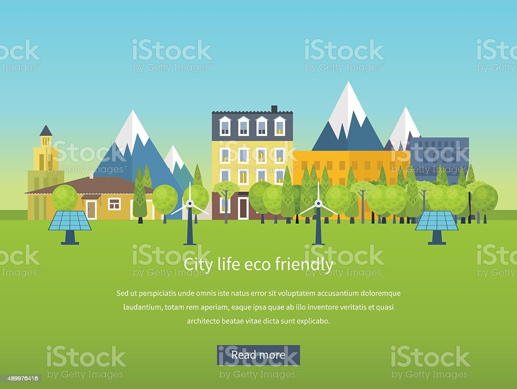 Concept illustration with icons of ecology, environment, eco friendly energy vector art illustration