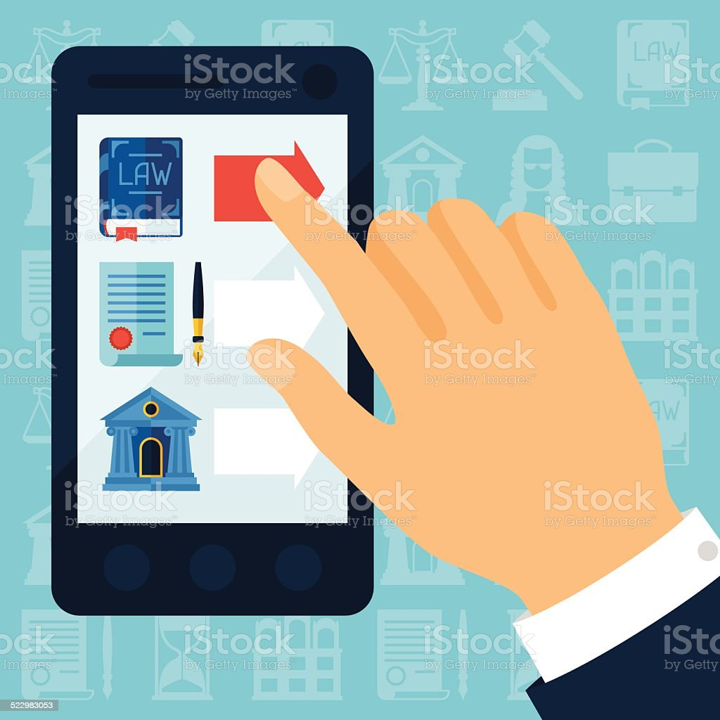 Concept illustration with mobile phone and law icons. vector art illustration