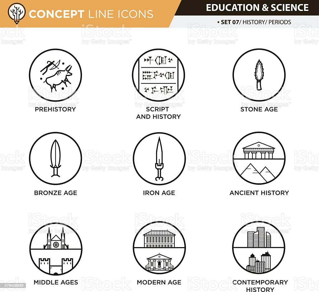 Concept Line Icons Set 7 History vector art illustration