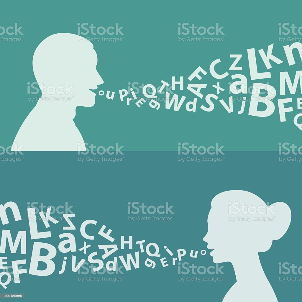 Concept man woman and letters vector art illustration