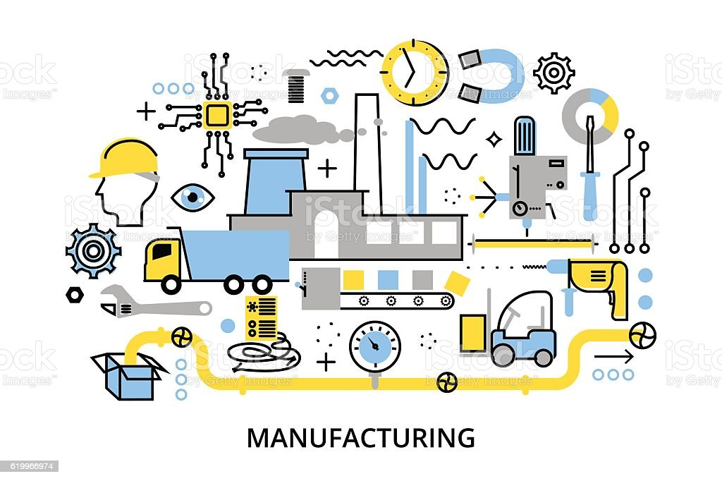 Concept manufacturing process, for graphic and web design vector art illustration
