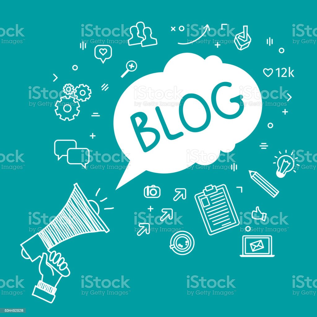 Concept of blogging vector art illustration