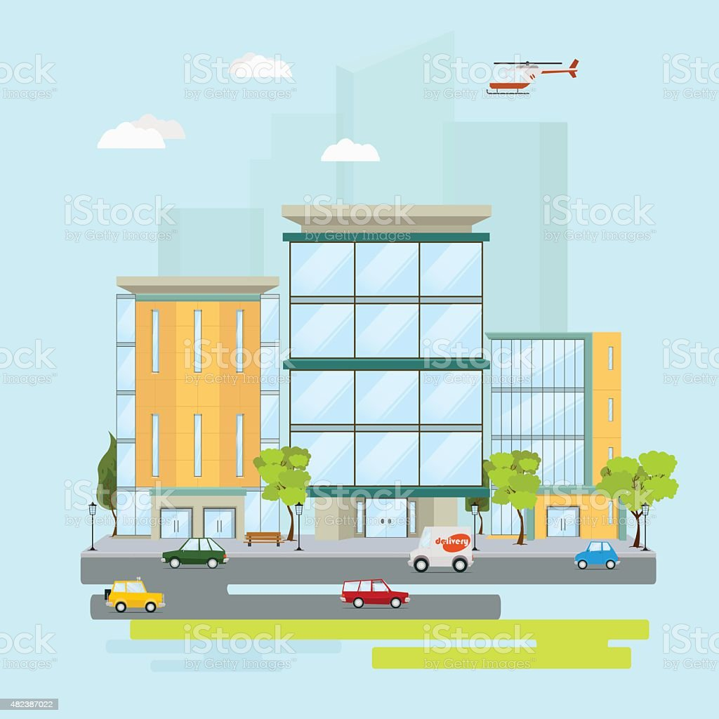 concept of business center vector art illustration