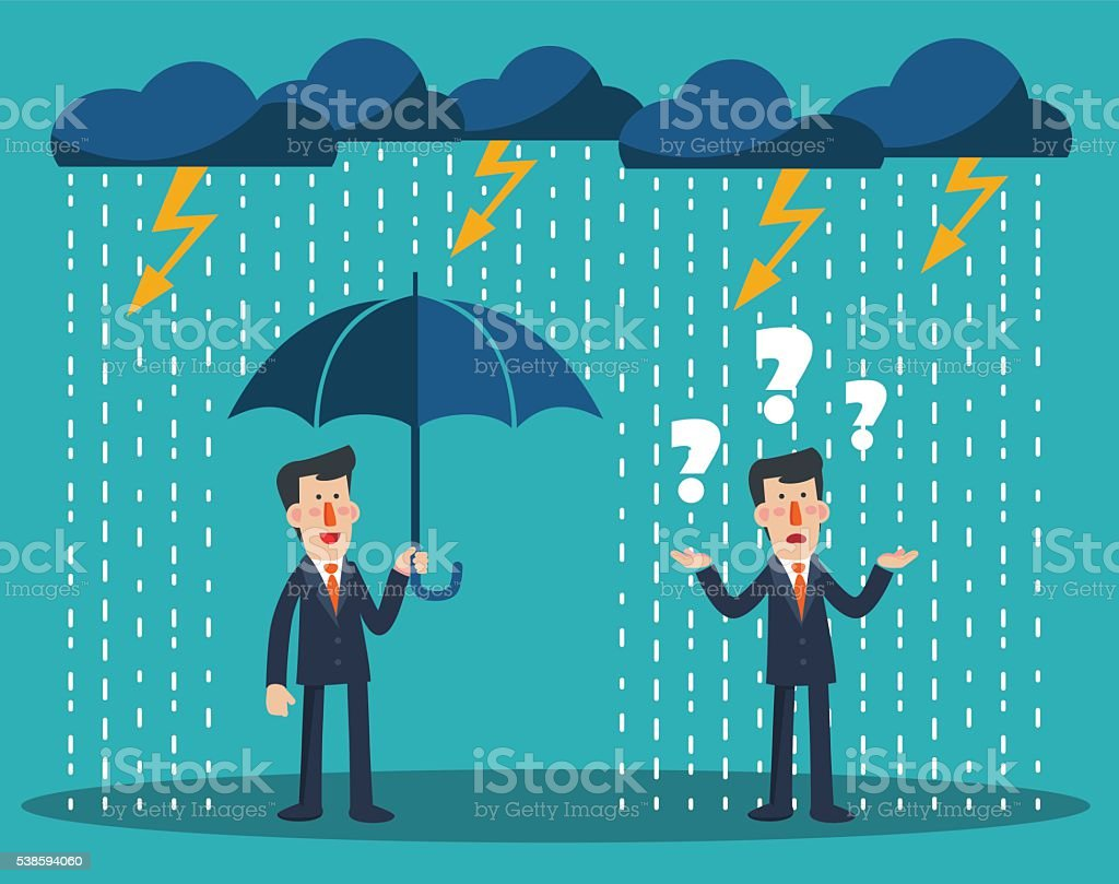 Concept of businessman protection. Concept of businessman fail and competition vector art illustration