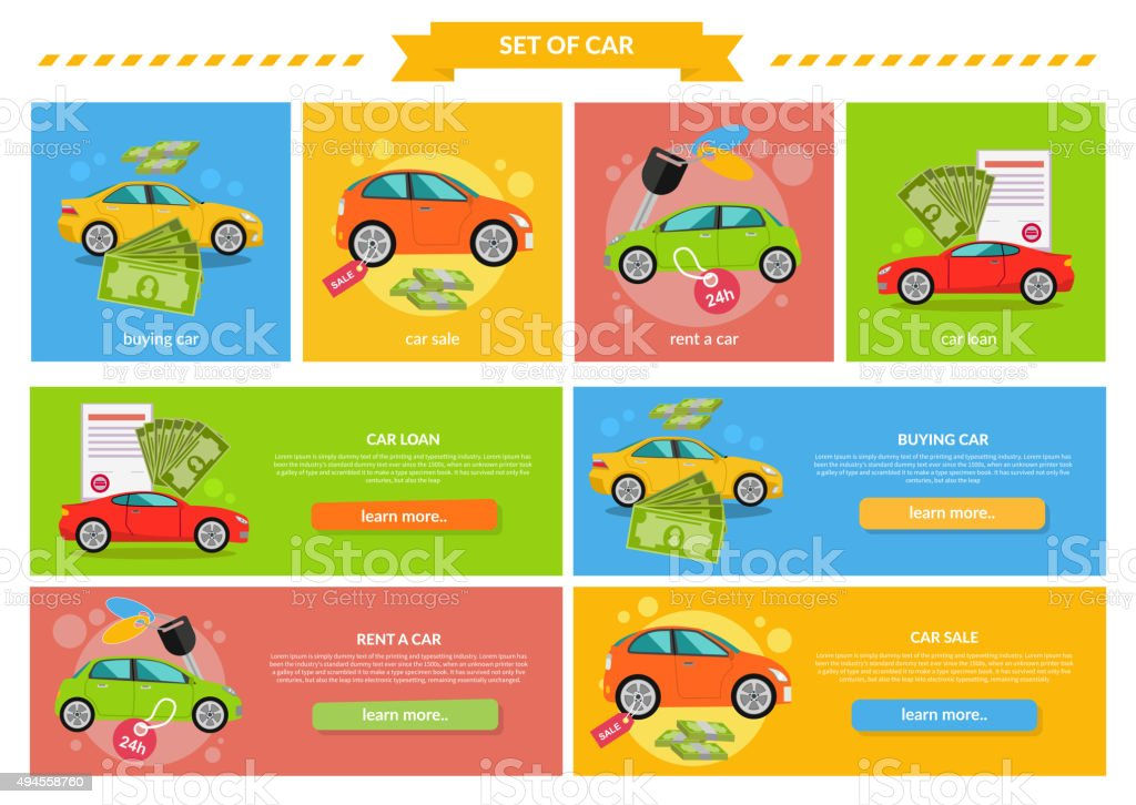 Concept of Buying Selling Rental Car vector art illustration
