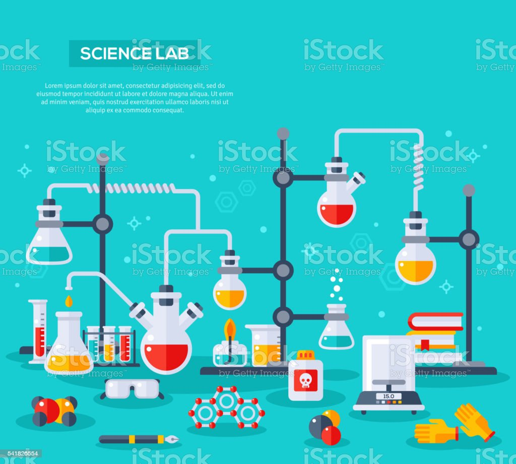 concept of chemistry experiment vector art illustration