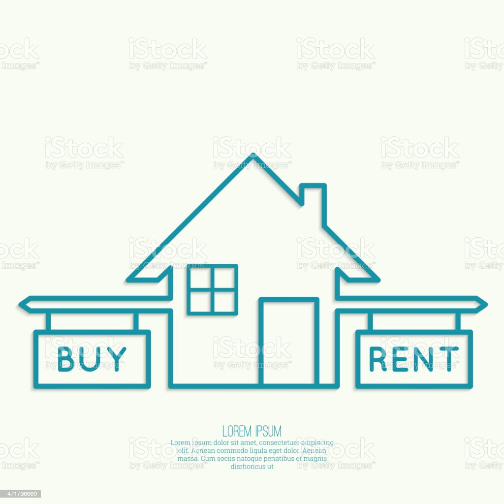 Concept of choice between buying and tenancy vector art illustration