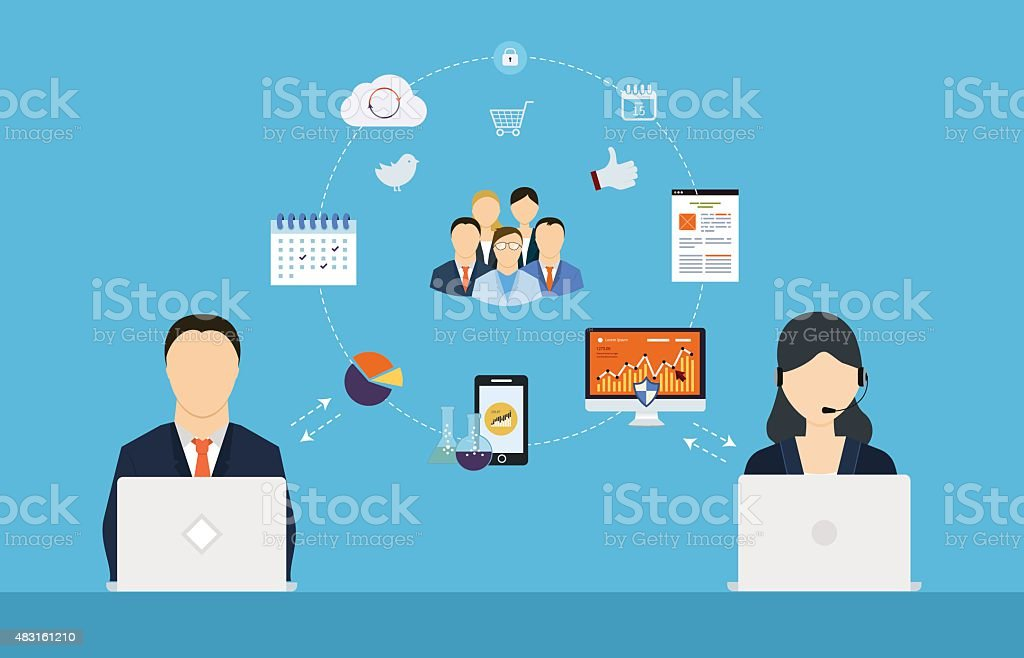 Concept of consulting services, project management, time management vector art illustration
