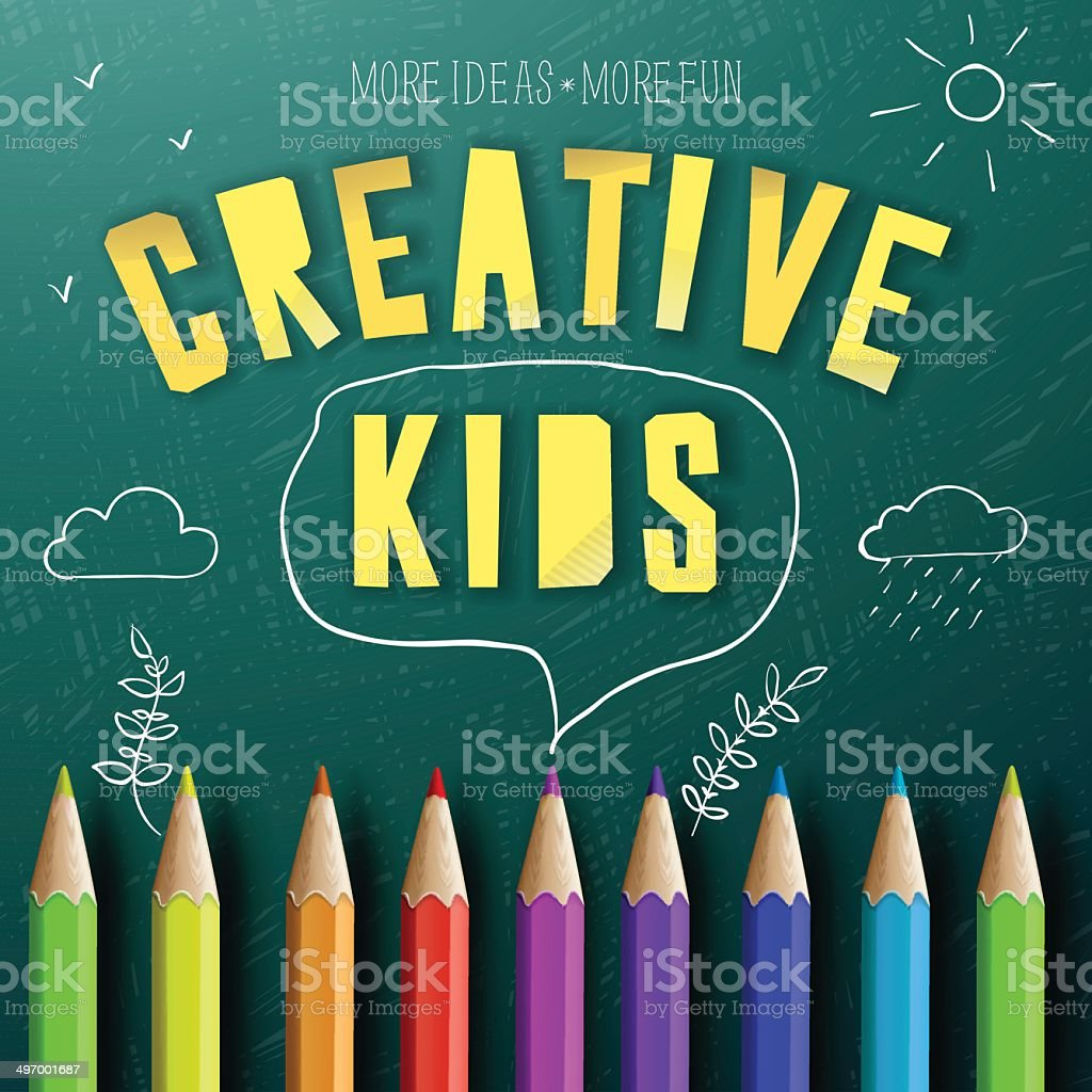 Concept of creative education for kids vector art illustration