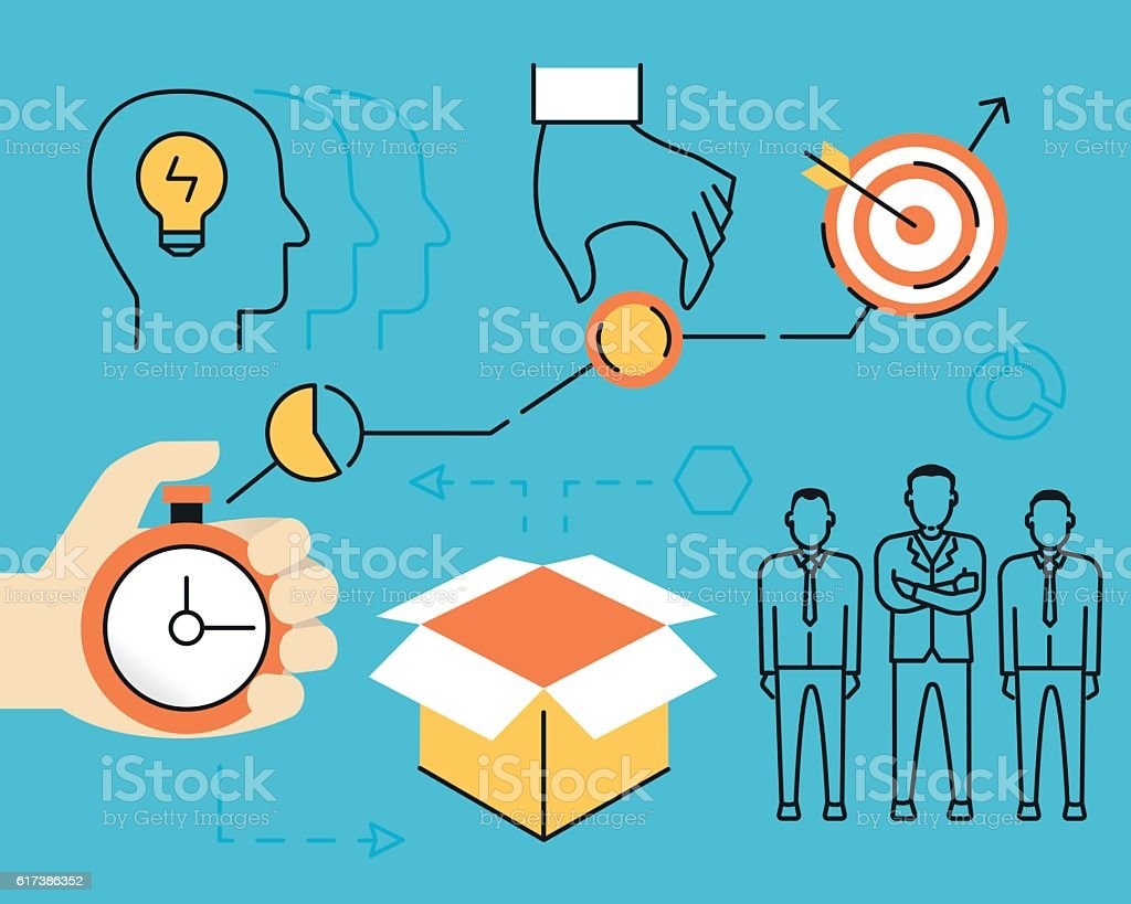 Concept of crowdsourcing process and alternative finance vector art illustration
