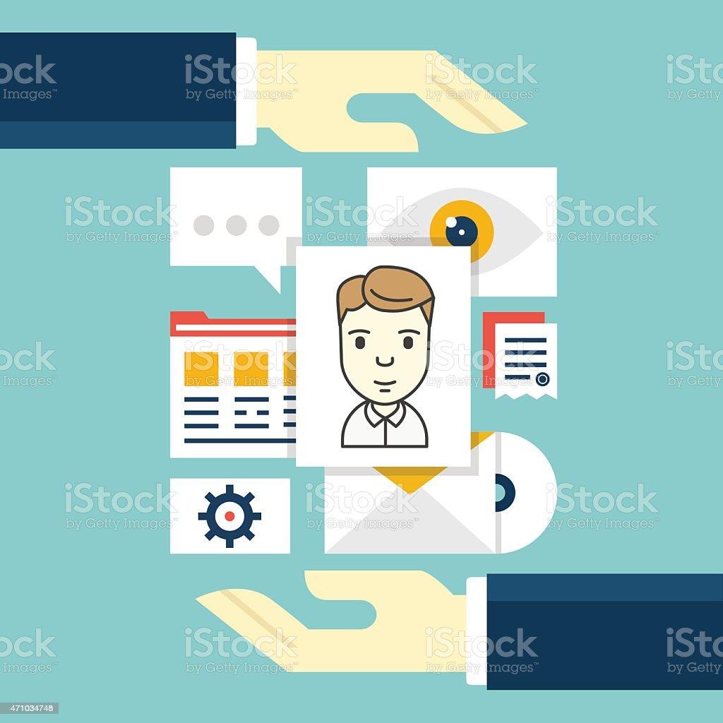 Concept of Customer Relationship Management. Software as a service vector art illustration