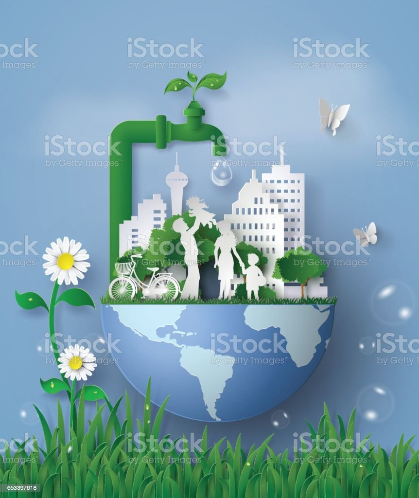 concept of eco and wolrd water day with family vector art illustration