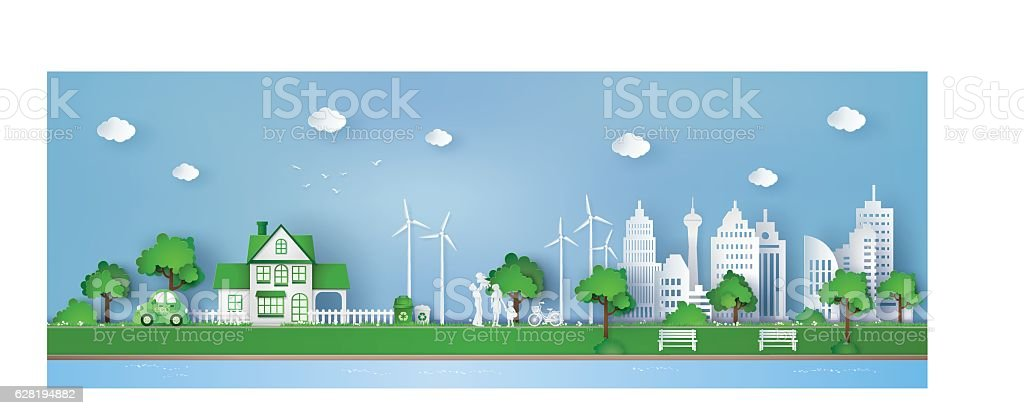 concept of eco friendly and save the earth vector art illustration
