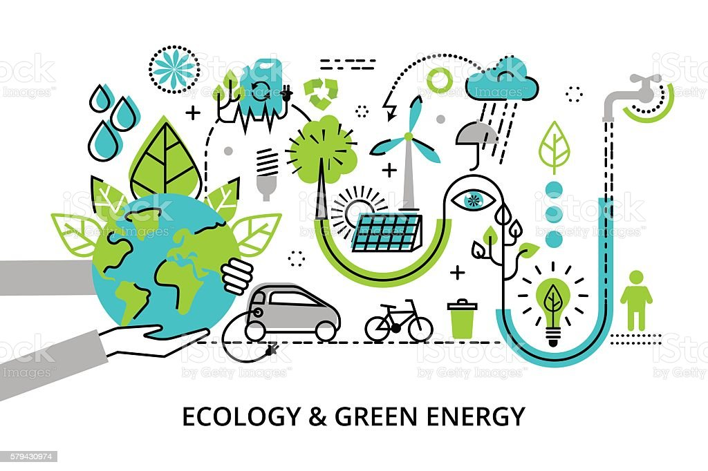Concept of ecology problem, generation and saving green energy vector art illustration