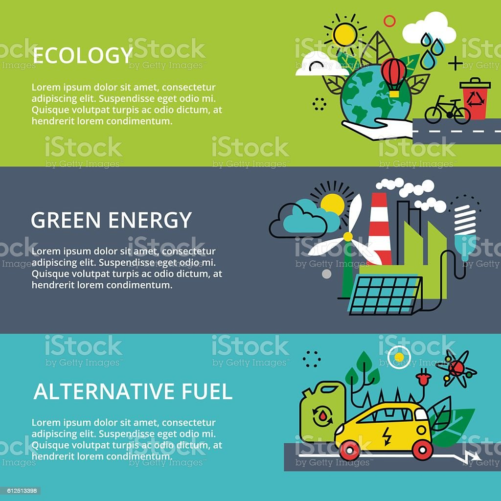 Concept of ecology problem, green energy and alternative fuel vector art illustration