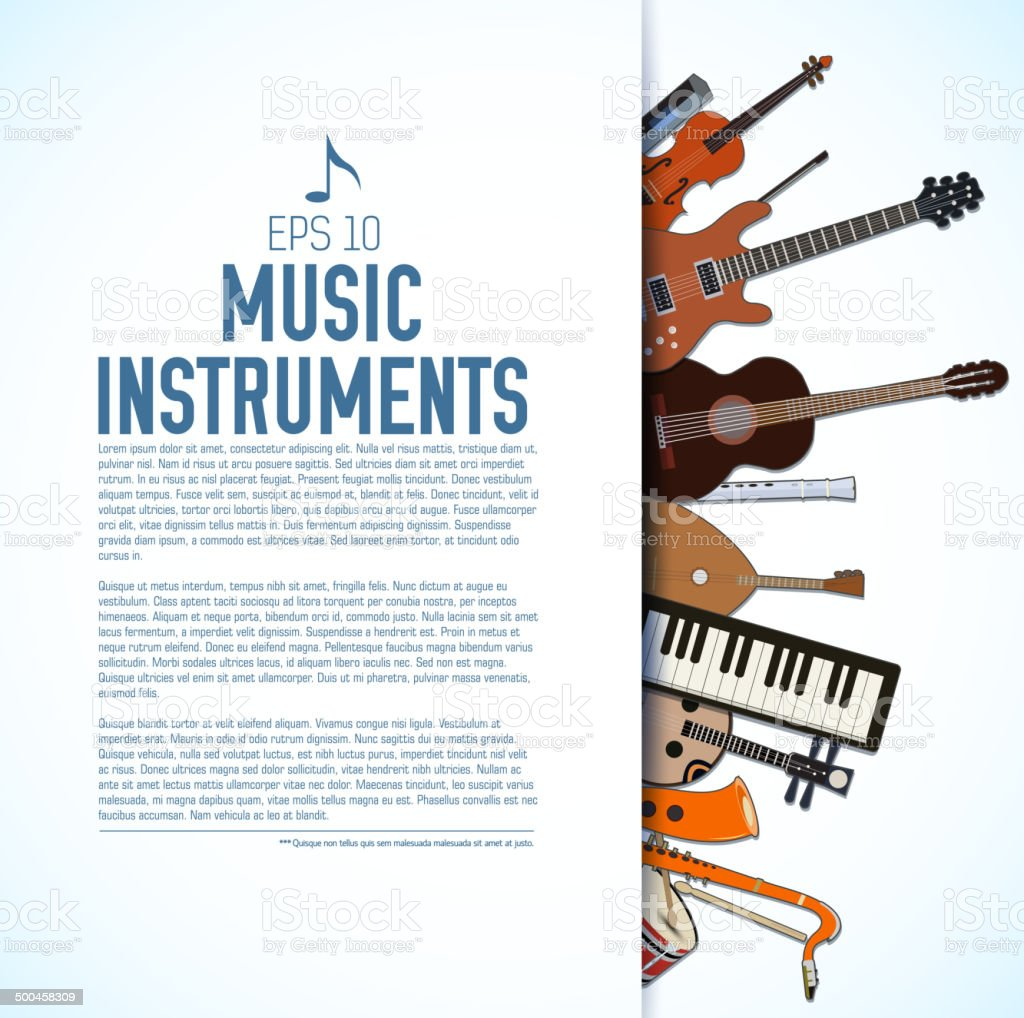 concept of flat music instruments background vector art illustration