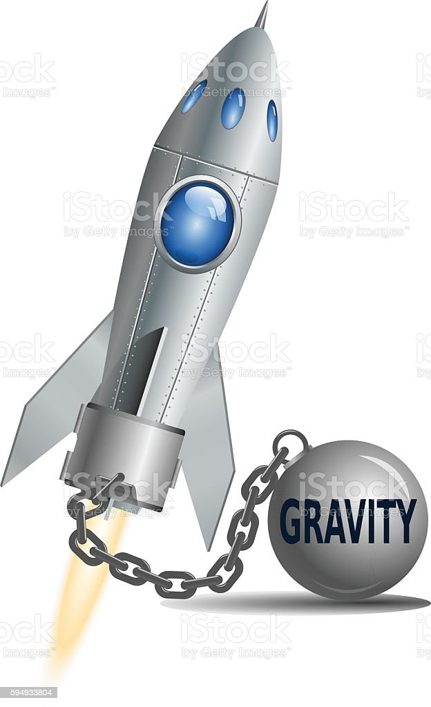 Concept of Gravity. Rocket with ball and chain, vector illustration vector art illustration