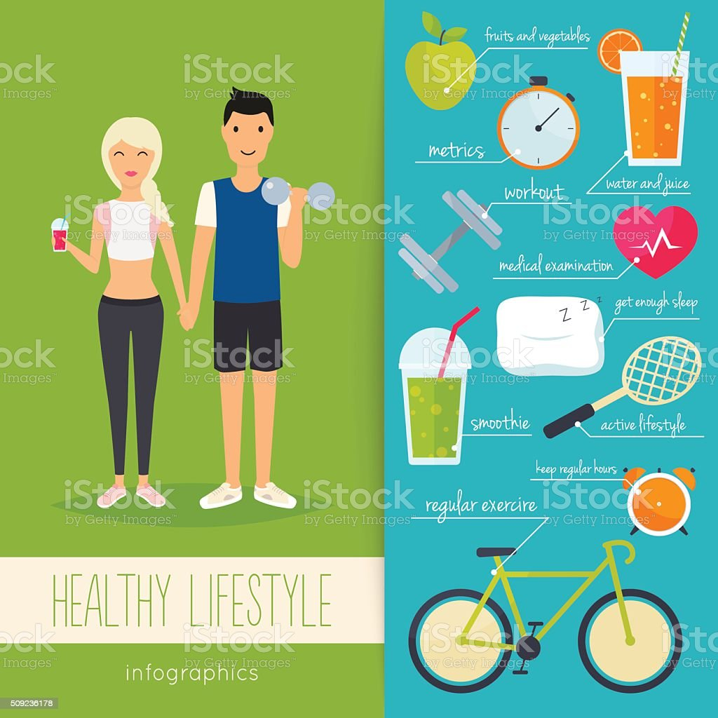 Concept of healthy lifestyle infographics. Young man and woman l vector art illustration